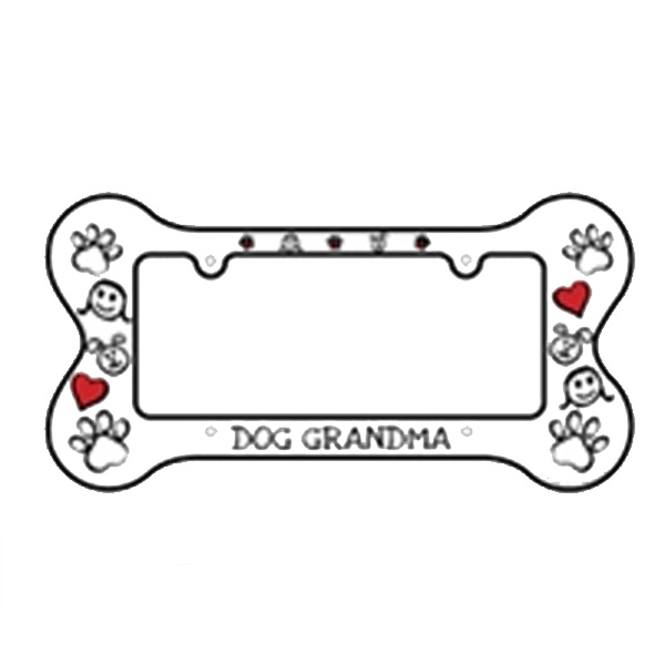Bone Shaped License Plate Frame - Dog Grandma