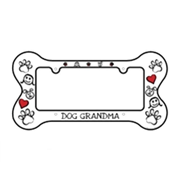 Bone Shaped License Plate Frame Dog Grandma Baxterboo
