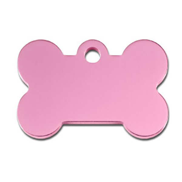 Bone Small Engravable Pet I.D. Tag - Light Pink
