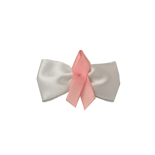 Breast Cancer Bow Dog Barrette
