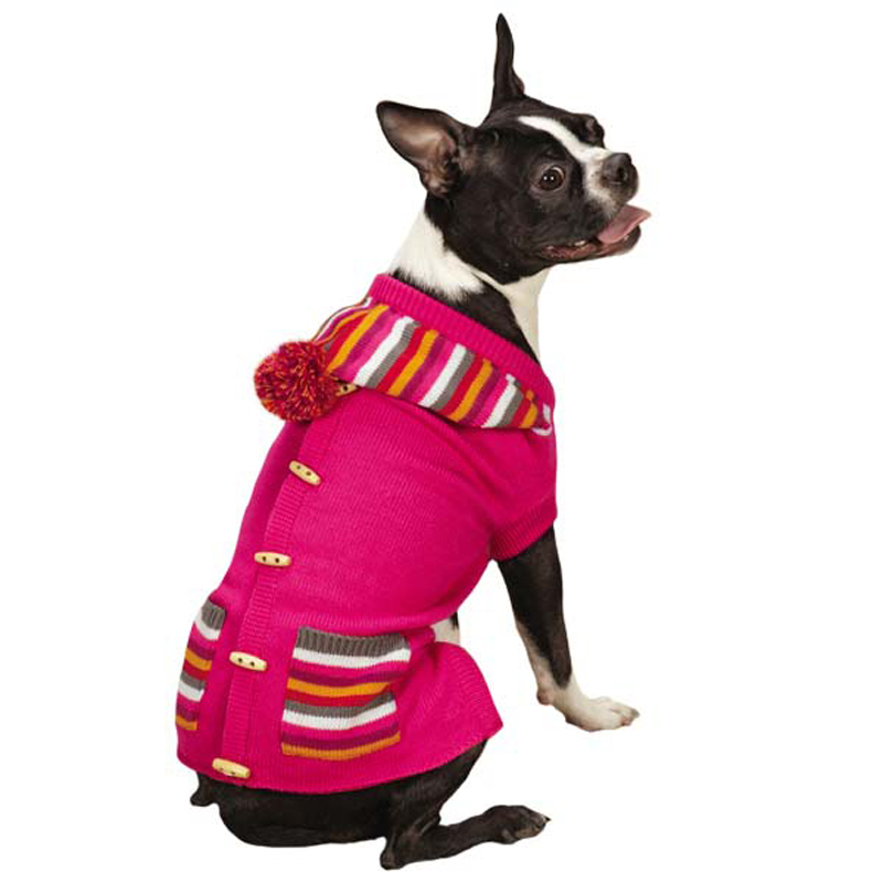 Bright Stripe Dog Sweater Vest - Raspberry