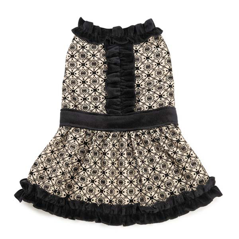 Brocade Ruffle Dog Dress - Champagne