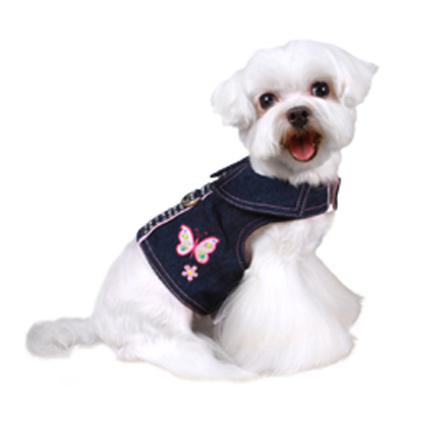 Butterfly Denim Dog Harness