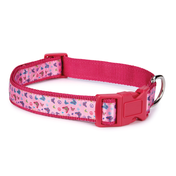 Butterfly Garden Dog Collar - Pink