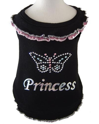 Butterfly Princess Blouse Dog Shirt - Black with Pink Trim