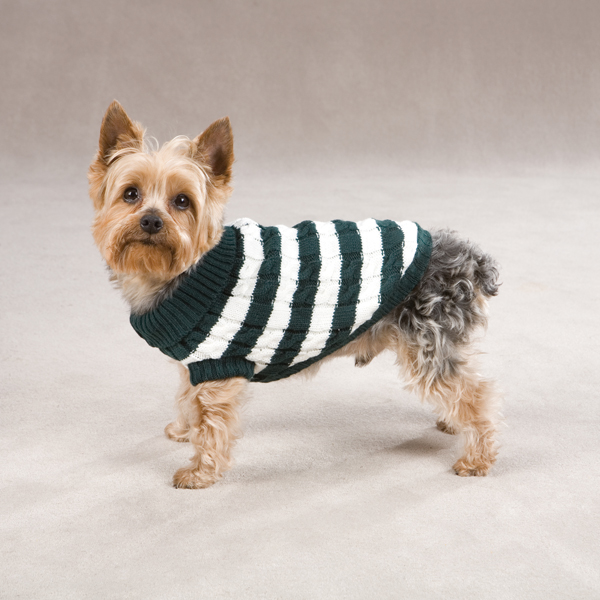 Cabin Striped Turtleneck Dog Sweater - Green