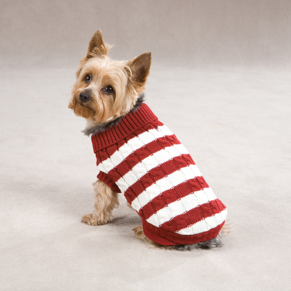 Cabin Striped Turtleneck Dog Sweater - Red