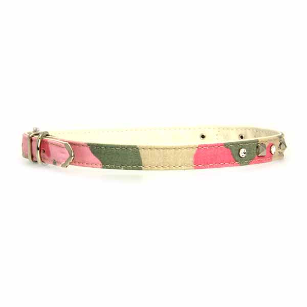 Camo Diamond & Pyramid Dog Collar - Pink