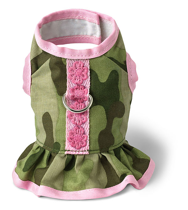 Camo Dress Harness by Doggles - Green and Pink