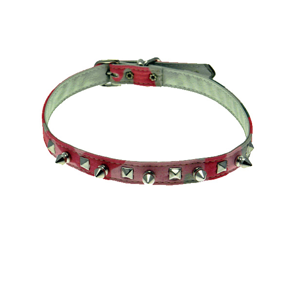 Camo Spike & Pyramid Dog Collar - Pink