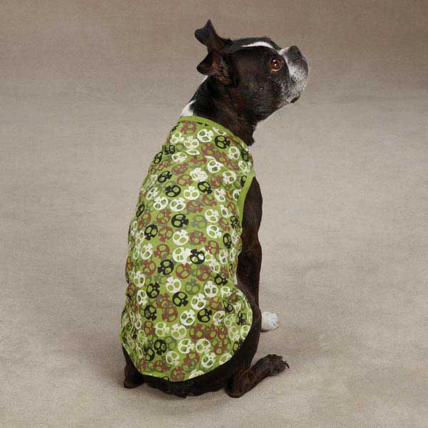 Bone Heads Dog Tank - Green