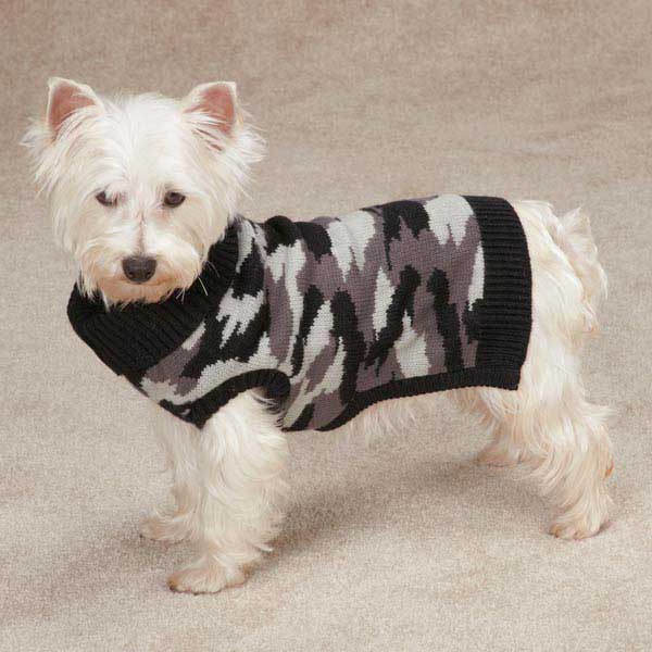 Casual Canine Camo Dog Sweater - Black