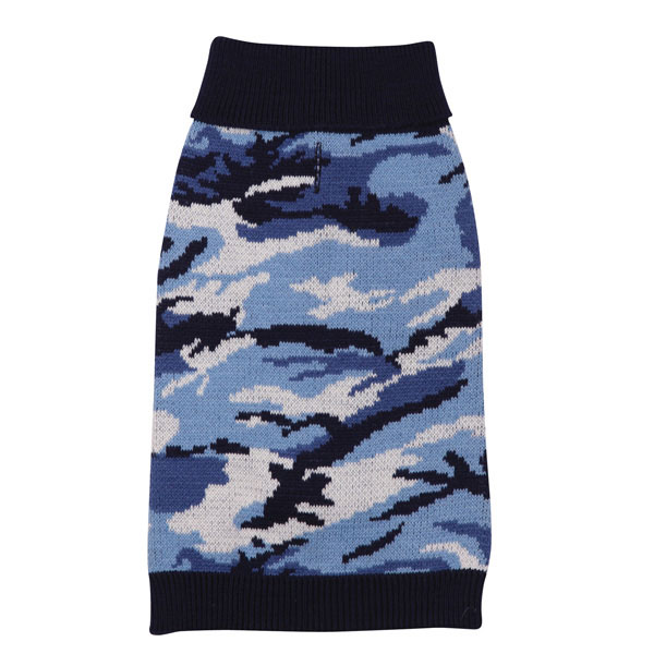 Casual Canine Camo Dog Sweater - Blue