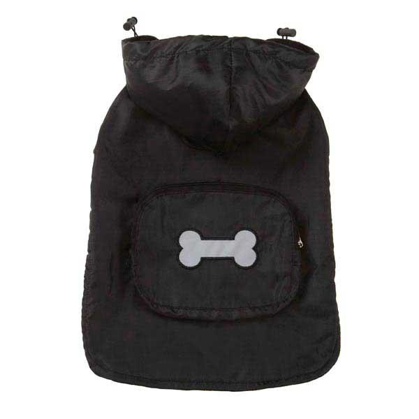 Fleece-Lined Stowaway Dog Rain Jacket - Black
