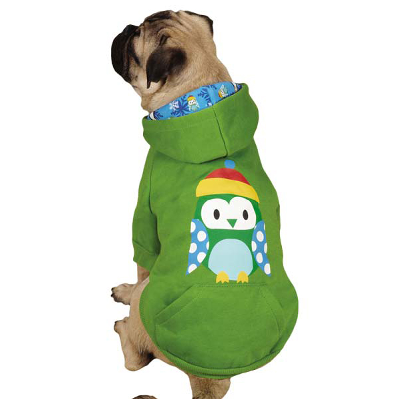 North Pole Pals Dog Hoodie - Green Owl