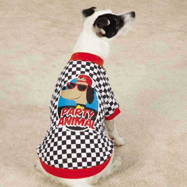 Party Animal Dog T-Shirt - Checkered