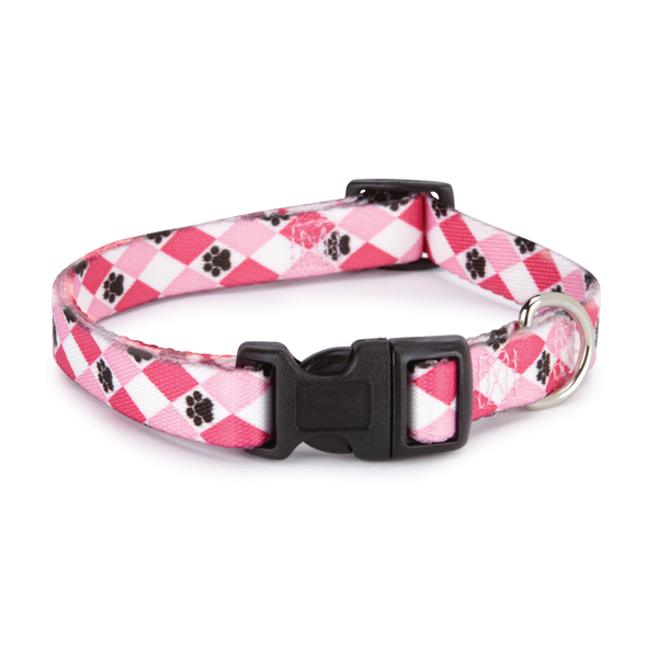 Casual Canine Pooch Pattern Dog Collar - Pink Argyle