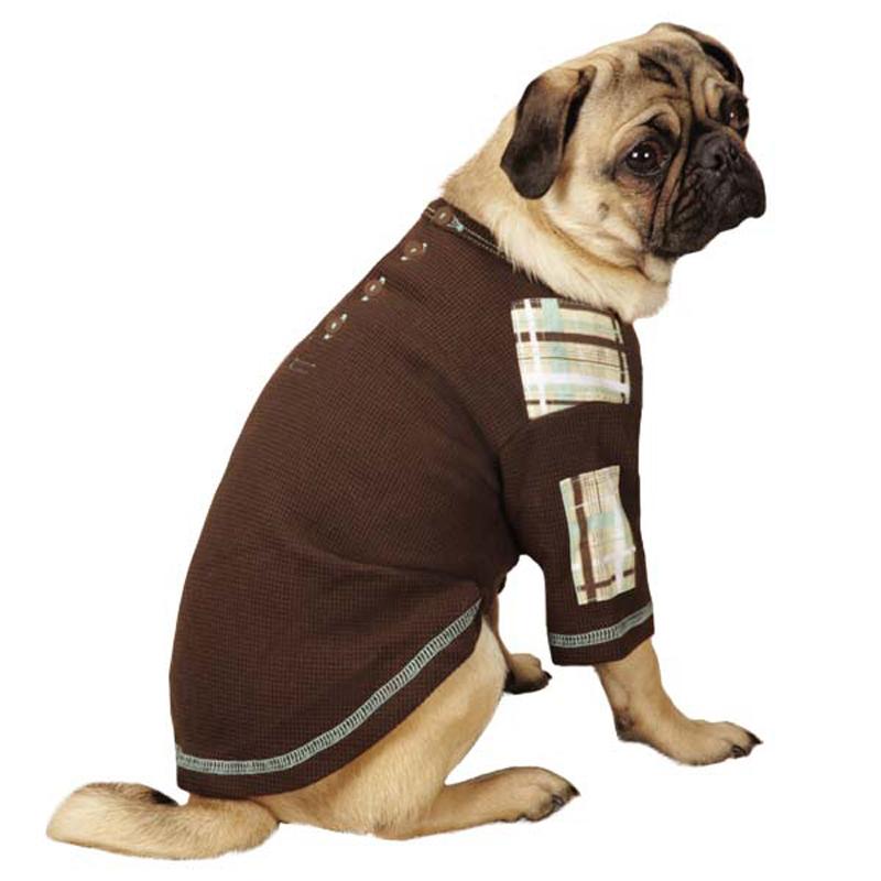 Rad Plaid Henley Dog Shirt - Chocolate