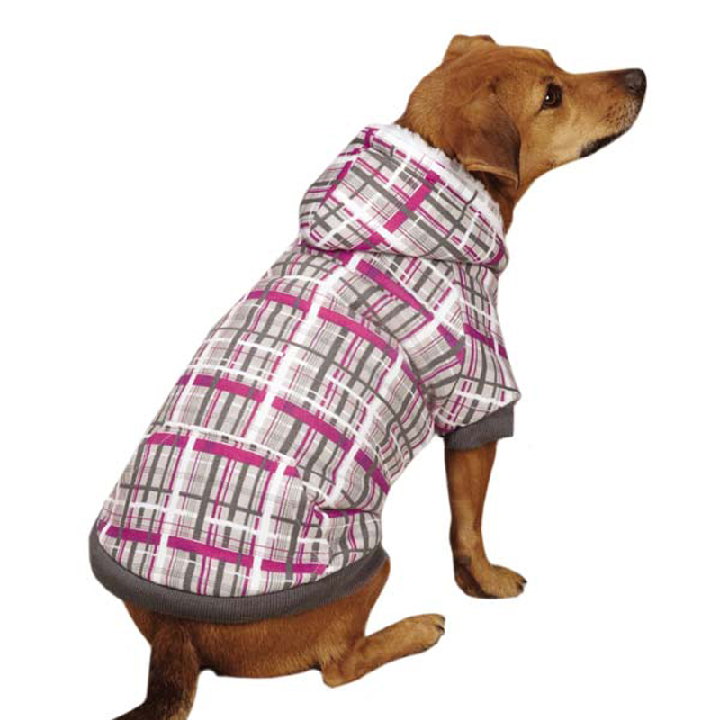 Rad Plaid Dog Hoodie - Charcoal