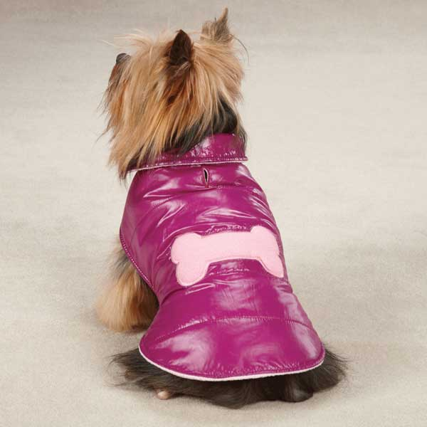Casual Canine Snow Puff Dog Vest - Deep Raspberry