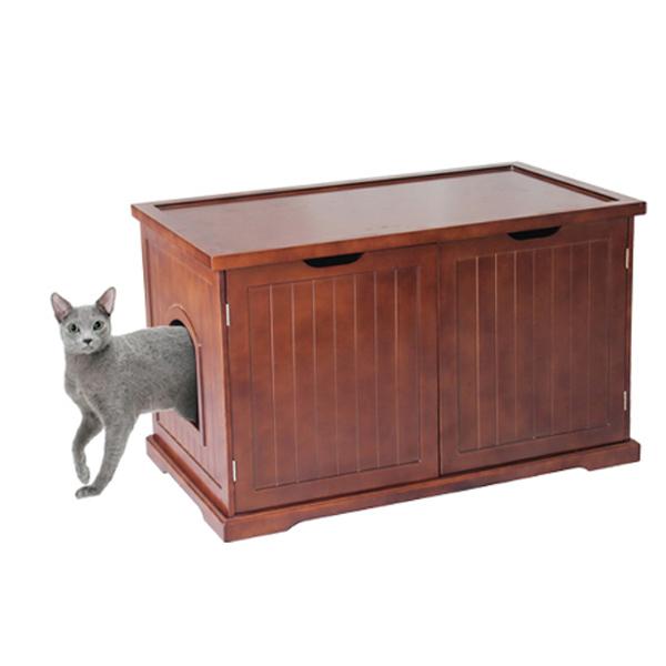 Cat Washroom Bench - Walnut