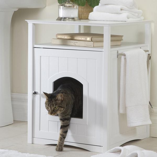 Cat Washroom and Night Stand - White