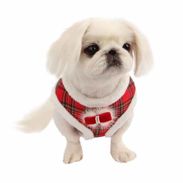 Checkered Snugfit Dog Harness by Pinkaholic - Red