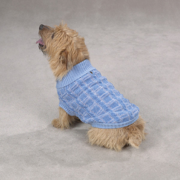 Chenille Cable Knit Dog Sweater - Blue