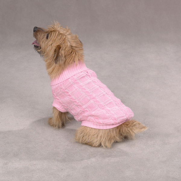 Chenille Cable Knit Dog Sweater - Pink