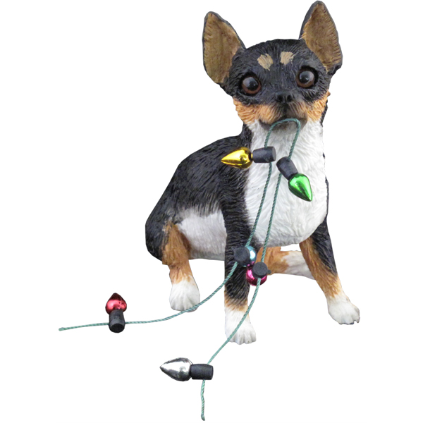 Chihuahua Sitting Christmas Ornament - Tri Color