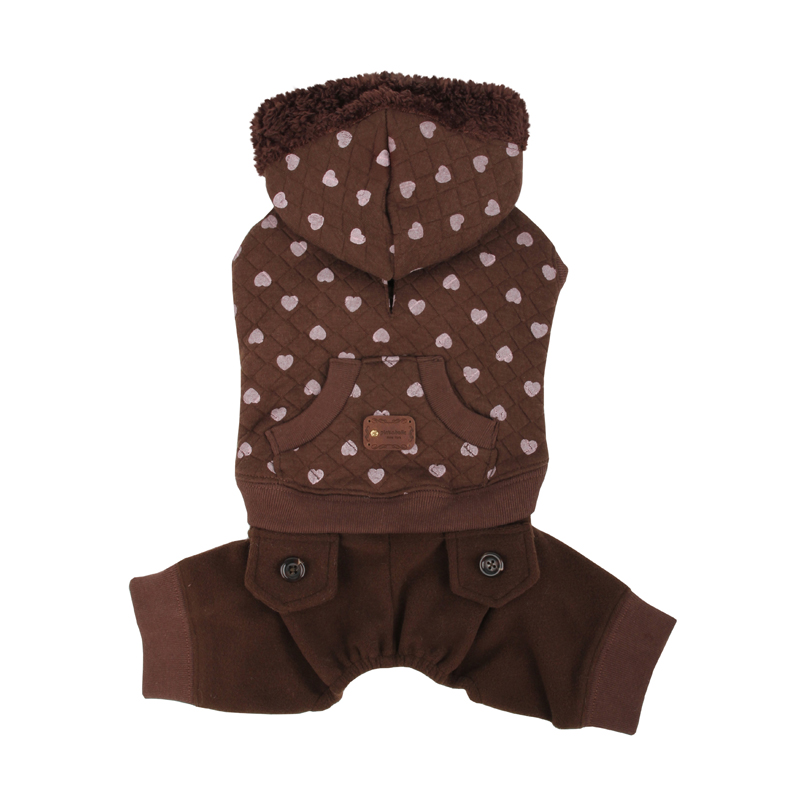 Choco Chip Dog Jumpsuit by Pinkaholic - Brown