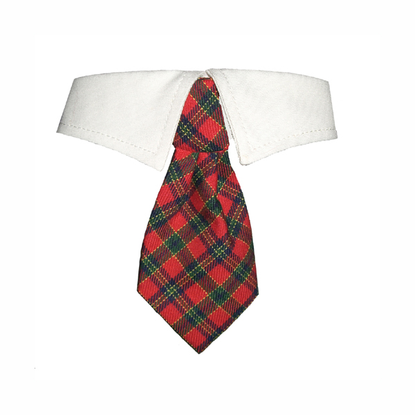 Christmas Tartan Dog Shirt Collar & Tie at BaxterBoo