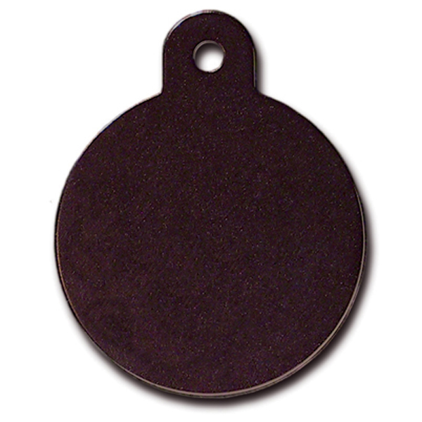 Circle Large Engravable Pet I.D. Tag - Black