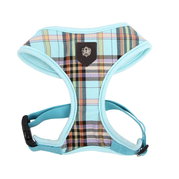 Classic Plaid Dog Harness by Puppia - Aqua