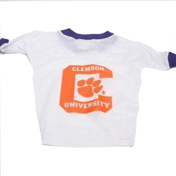 Clemson Tigers White Dog Jersey - Big C with Paw Inside