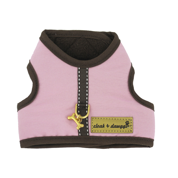 Cloak & Dawggie Harness Vest with Brown Fleece Lining - Pink