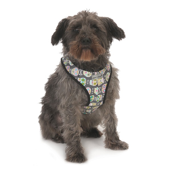 Cloak & Dawggie Snap-N-Go Dog Harness - Skull Print with Blue Fleece