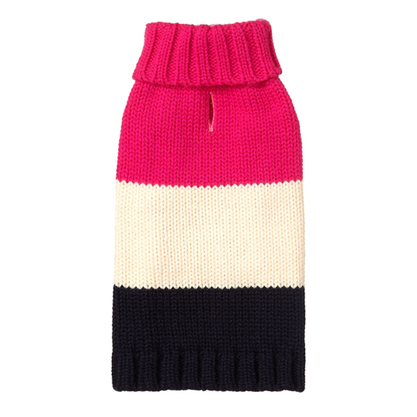 Color Block Dog Sweater by Fab Dog - Hot Pink, Cream, and Navy
