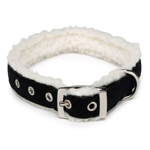 Cozy Sherpa Dog Collars - Black