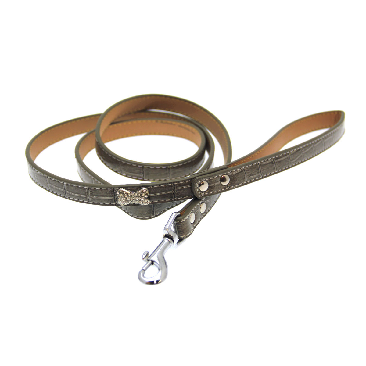 Crystal Bone Leather Dog Leash - Gray