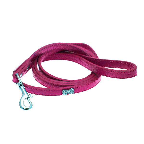 Crystal Bone Leather Dog Leash - Hot Pink