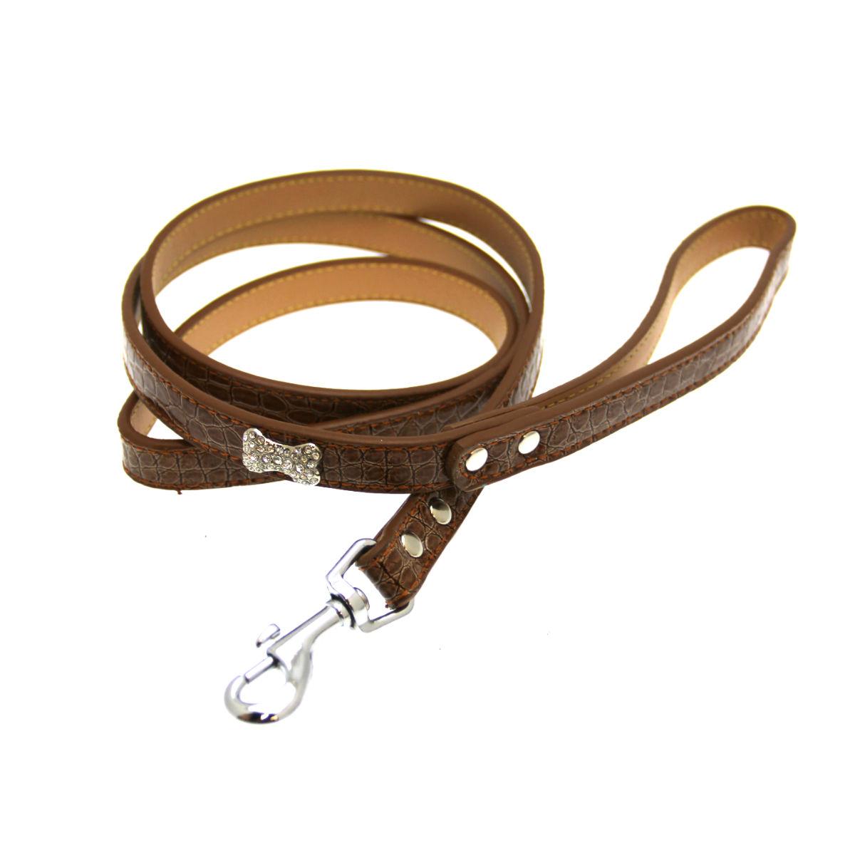 Crystal Bone Leather Dog Leash - Tan