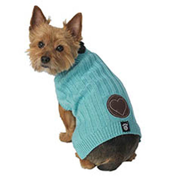 Cupid's Embossed Heart Sweater - Aqua