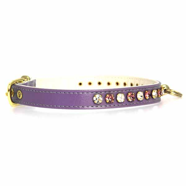 Deluxe Crystal Dog Collar - Purple