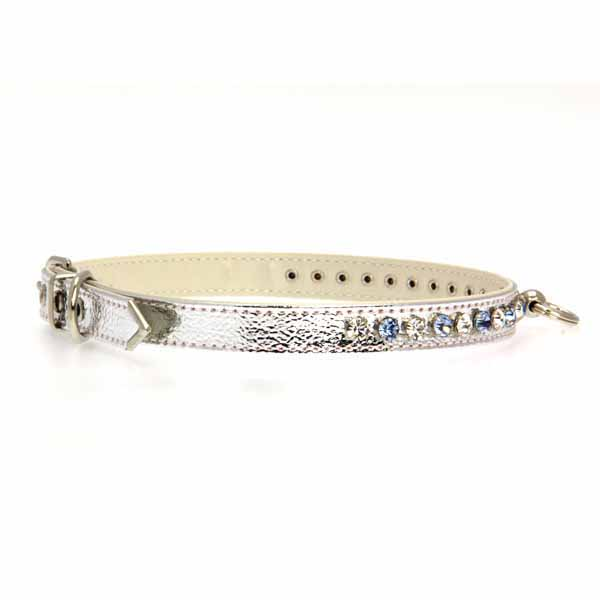 Deluxe Crystal Dog Collar - Silver w/ Blue