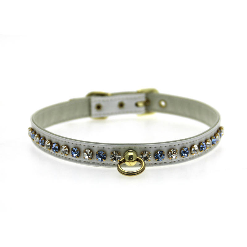 Deluxe Crystal Dog Collar - White w/ Blue Crystal