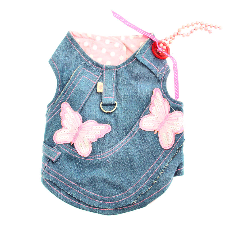 Denim Butterflies Harness Vest w/ Leash