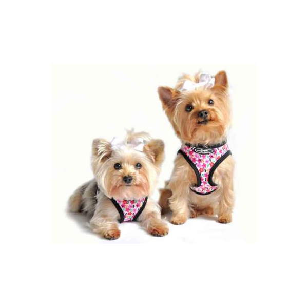 Designer Choke-Free Step-In Dog Harness - Pink Floral Bouquet
