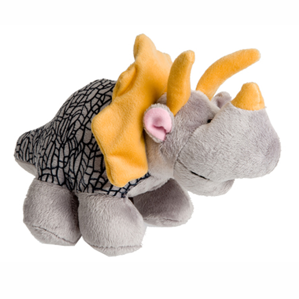 Dino-Rageous Plush Dog Toy - Gray Dino