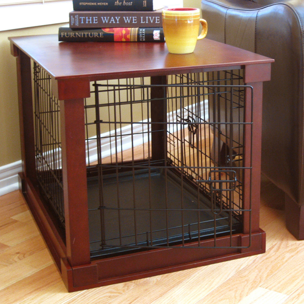 Wood and Wire End Table Dog Cage